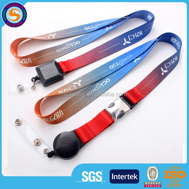 Hot sale printed your own logo id lanyard, retractable badge reel lanyard, sublimation lanyard with badge reel