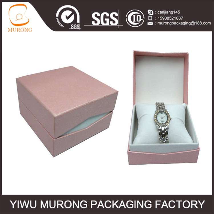 Pink square paper watch box for lady