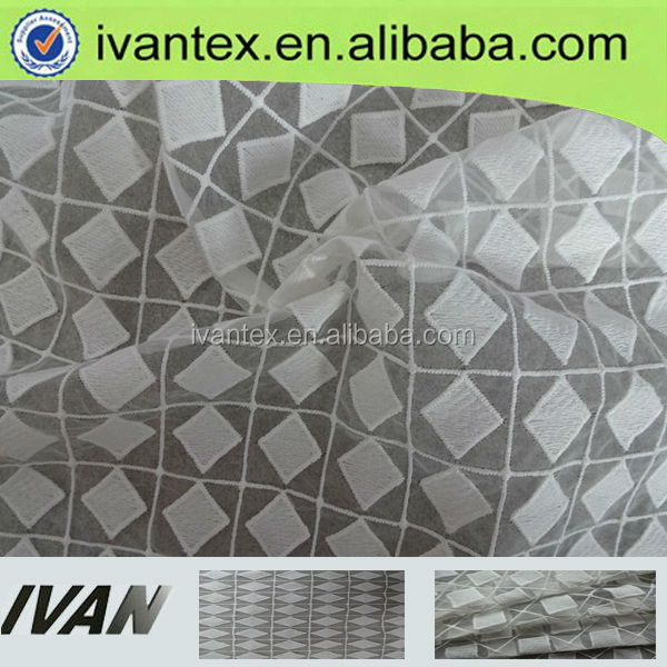 Hot Design Cheap Polyester Embroidered Organza Ivory Fabric