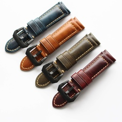 oil wax leather handmade watch band straps 20 22 24 26mm for male multiple color