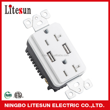 ETL UL Yuyao Premium USB wall Receptacle with usb charging station and switch 5v 1a 2a universal