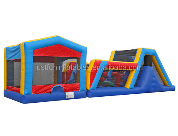 outdoor inflatable bounce house with slide,  commercial inflatable obstacle course for sale