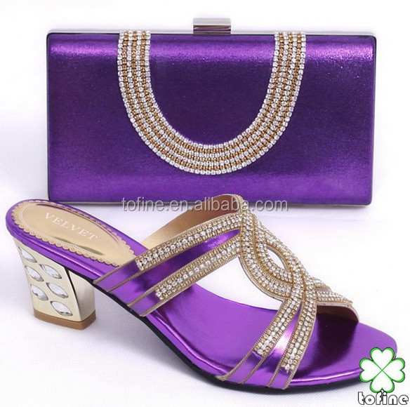 High quality fashion purple ladies shoes and matching bags