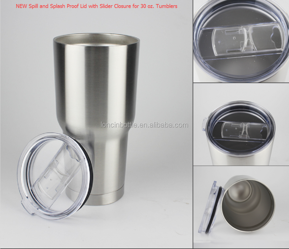 spill Splash Proof Lid For 30 Oz Tumbler , insulated 30 oz tumbler with sliding lid,30Oz insulated cup with tritan Lid