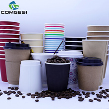 Disposable kraft paper soup cup_Double wall disposable hot coffee kraft paper soup cup_Easy Take away cups whit lid and straw