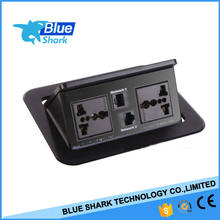 Universal tilt up conference table top box / table netbox with Rj45