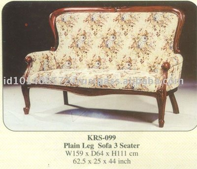 Plain Leg Sofa 3 Seater Mahogany Indoor Furniture
