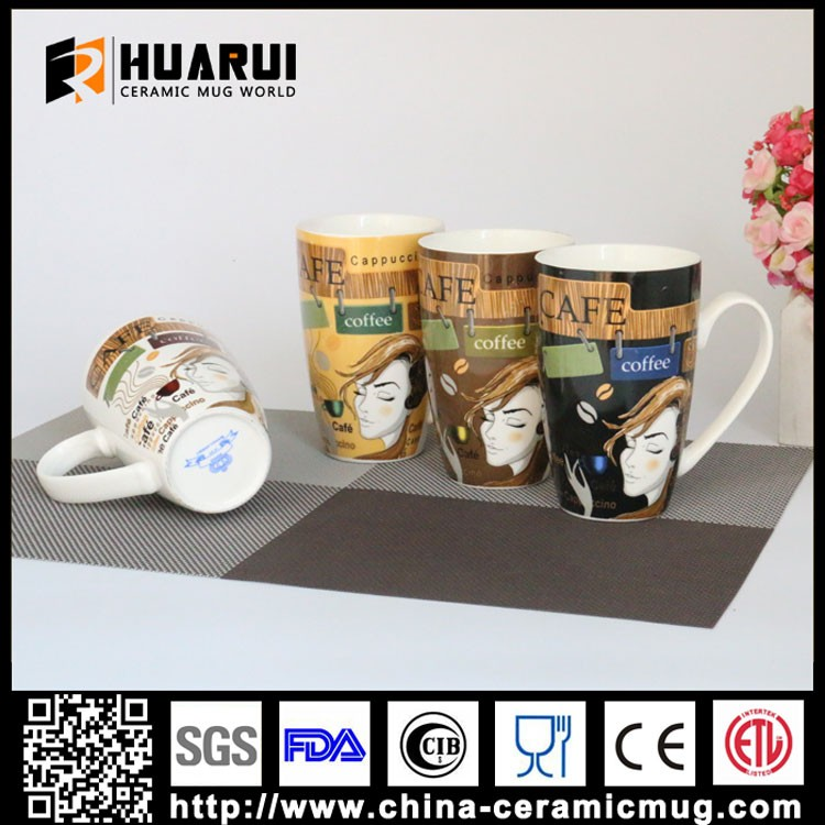 2016 modern lady fine new bone china tall cappuccino coffee ceramic mugs with big capacity