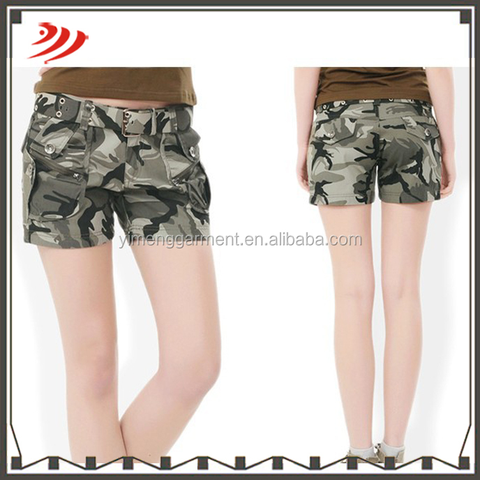 2016 customized fashion hot sell cheap camo shorts for women