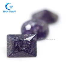 CZ gemstone amethyst color rectangle or oval shape machine cut ice stone