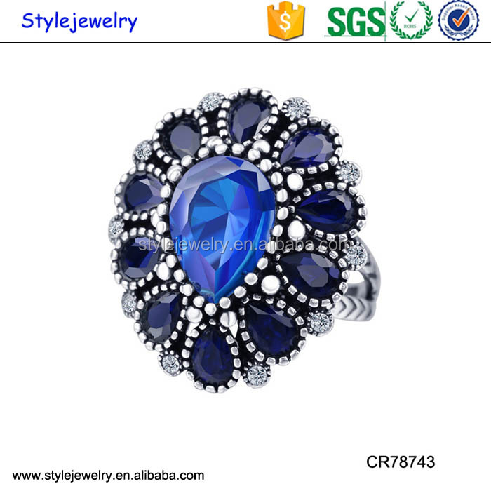 Antique Ring Silver Jewelry/ Flower Diamond Gemstone 925 Silver Ring