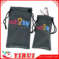 YD011 digital printing customizable microfiber drawstring cell phone pouch