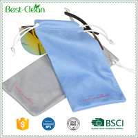 Soft Silk Screen Printing Drawstring Microfiber Pouch for Glasses