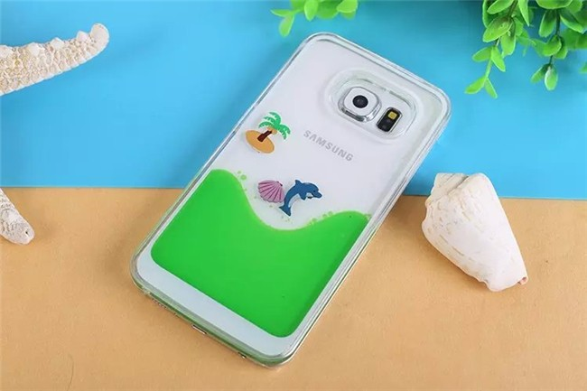 Dolphin Coconut Novelty Transparent Clear Liquid filled Water Case Cover For Samsung Galaxy S6