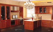 Simple design modular solid wood(cherry,oak,teak) kitchen cabinet made in china