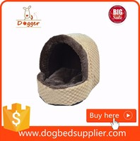 Cozy pet dog cat cave shaped house bed with removable cushion inside