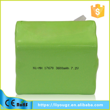 MP High Quality Battery 3600mah 7.2v NI-MH Battery Pack For Vacuum Cleaner /electric scooter/toys cars