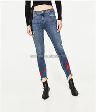 W0110 New Model Girl Denim Pants Wings Embroidery Women's Jeans Brands