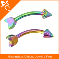stainless steel rainbow color plated curved body piercing jewelry eyebrow rings