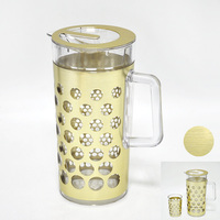 gold color styling plastic water pitchers