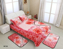 100% polyester home and hotel 5 pcs king size bed sets