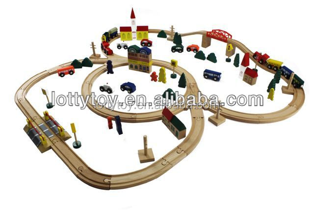 Funny wooden railway toy for toddlers