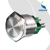 Saipwell Green LED Push Button Switch 25mm 12V Stainless Steel Round Waterproof Illuminated Push Button Switch