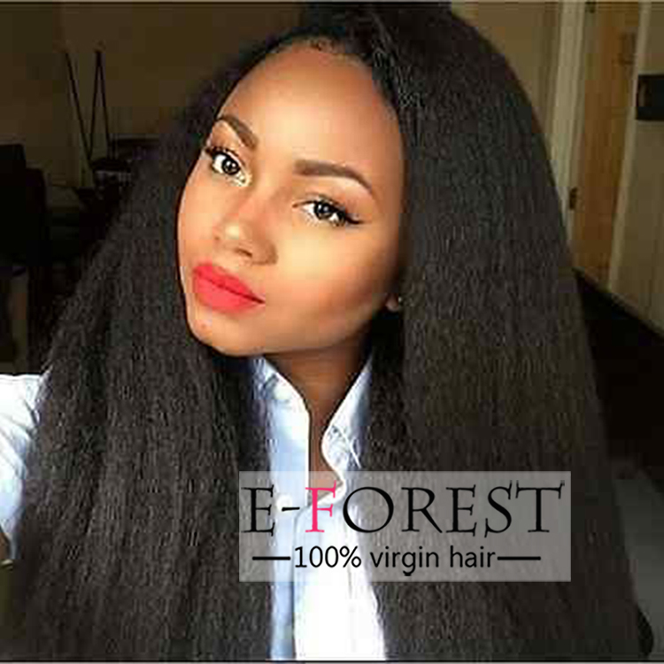 Full Lace Wig Natural Color African American Women Straight Yaki Human Hair Wig