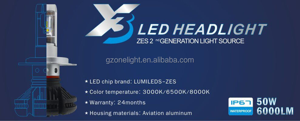 2018 led headlight auto lighting systems 6000LM Three Colors Change X3 Led Car Headlight