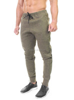 Custom branded zipper bottoms jogger fit elastic waist men denim pants -Military Olive