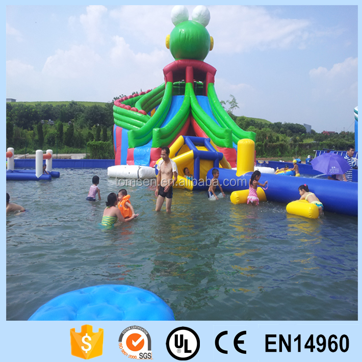 Green frog Inflatable pvc slide for water game/green frog inflatable slide combined with swimming pool