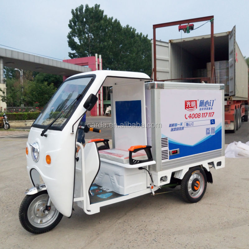 3 wheeler deliver milk car electric cargo tricycle with carriage/cabin battery operated refrigerated deliver cold vehicle