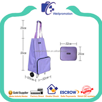 Lightweight polyester folding shopping trolley bag