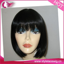 Brazilian virgin short human hair wigs natural straight silk top front lace wig/glueless silk top full lace wig