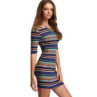 Womens New Arrival Summer Stripe Dresses Sexy Club Multicolor Vintage Print Round Neck Half Sleeve Backless Bodycon Dress