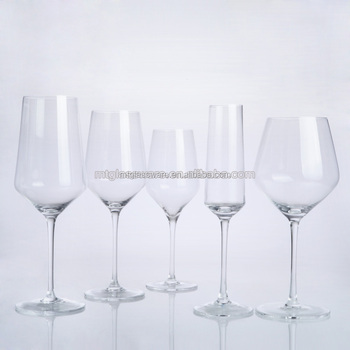 Thin stem high quality crystal wine glasses set fda eco for Thin stem wine glasses