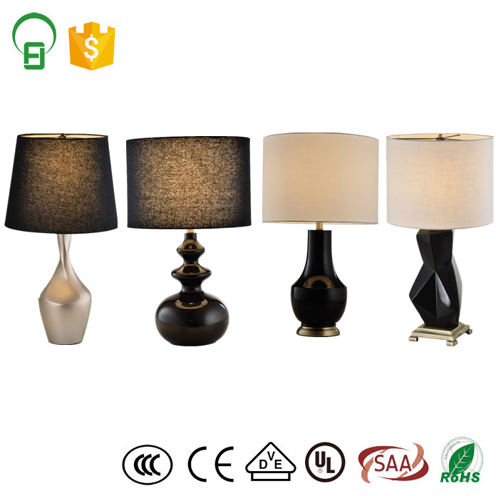 fabric shade polyresin modern home decor table lamp