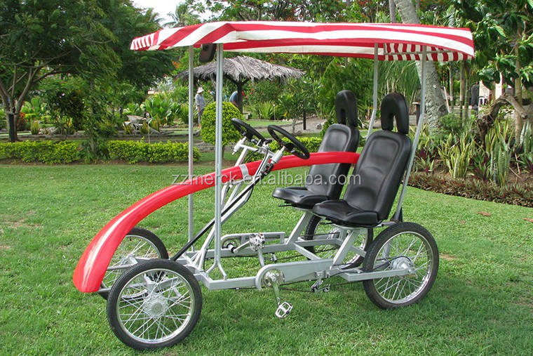 Buy 2 Seat Family Four wheel Bike, Sightseeing Pedal Exercise 4 Person Quadricycle Surrey Bike