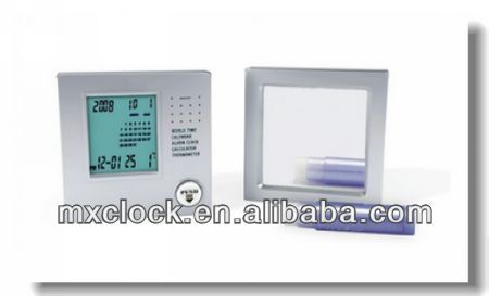 YD9017 world time display clock calculator with mirror