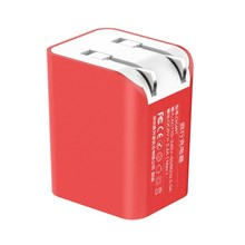 Chinese Red UV Fireproof Materials CCC CE FCC ROHS 12watt 5V2.4A 2 Port Dual USB Wall Charger