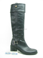 square buckle at toe studed pull on loops block heel riding boot