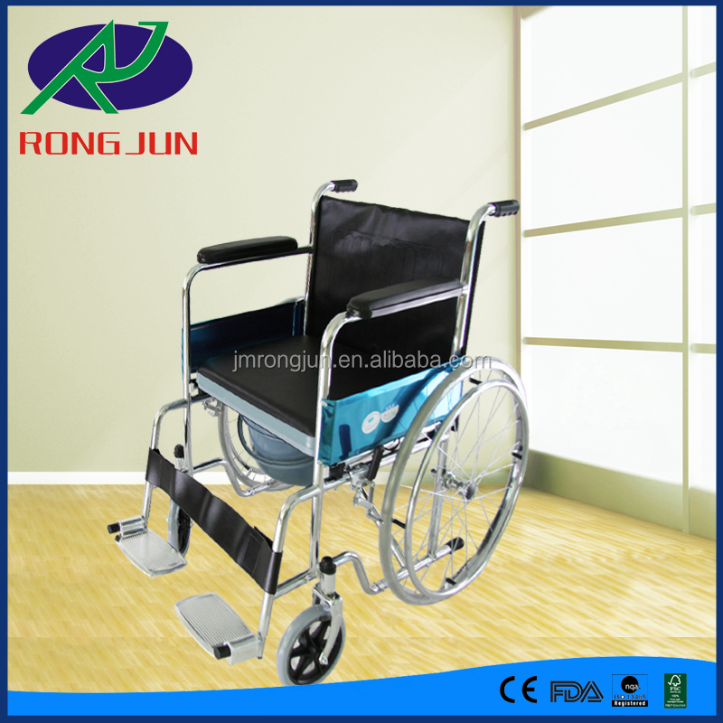 handicapped equipment wheelchair with toilet for disabled folding toilet seat chair RJ-C632