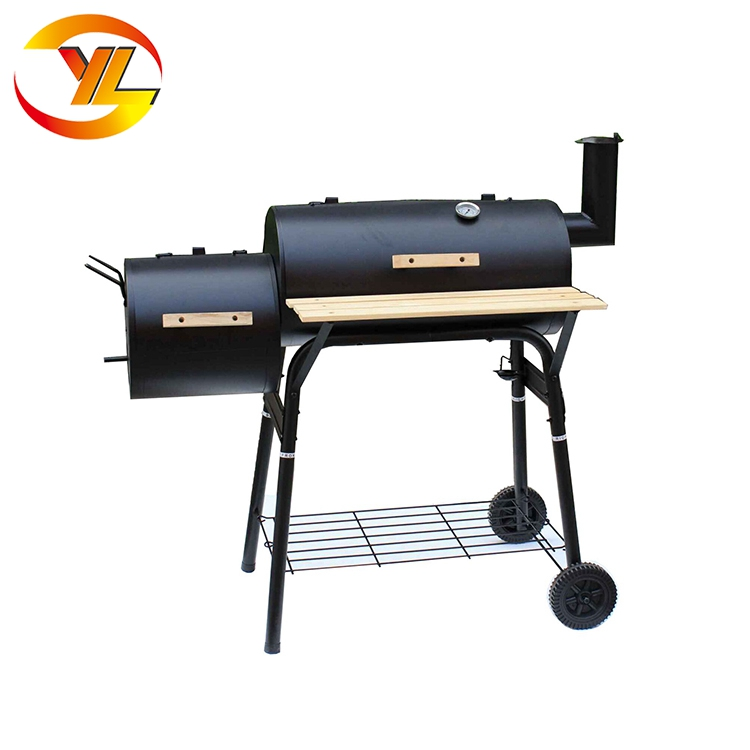 Round Double Barrel Portable Gas Charcoal Bbq Barbecue Oven With Grill Rack Stand