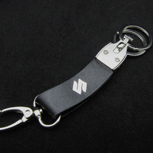 Alloy Detachable Two Keyring Black Genuine Leather Strap Spring Button Keyholder Metal Key Chain Real Leather