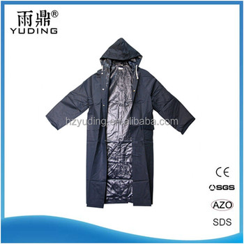 OEM factory durable long waterproof PVC Polyester raincoat for men