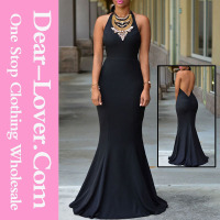 Hot new design cheap black sexy halter daring back long evening dress for ladies