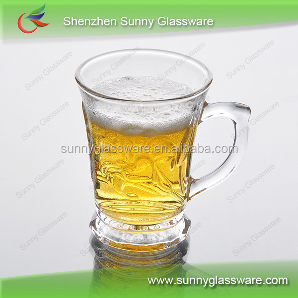 Creative high quality cooling beer glass mug with handle