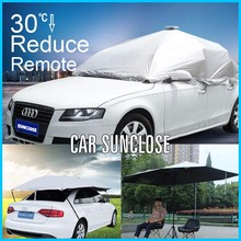 SUNCLOSE Factory automatic car cover clay lamp shade solar umbrella fan with very strong wind-resistant