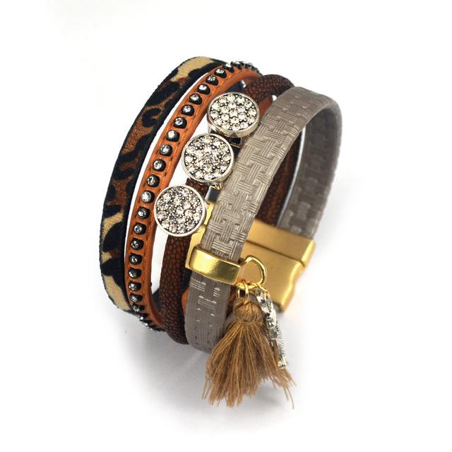 Fashion Holiday Crystal Bracelet Multilayer Leopard Bohemia Friendship Magnetic Tassel Bracelets & Bangles For women Jewelry