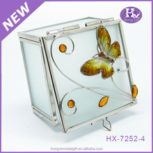HX-1590 Bronze epoxy butterfly metal decorative trinket jewelry boxes